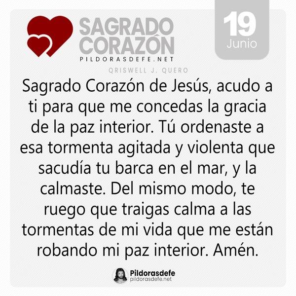 Oración al Sagrado Corazón de Jesús para el día 19 de junio