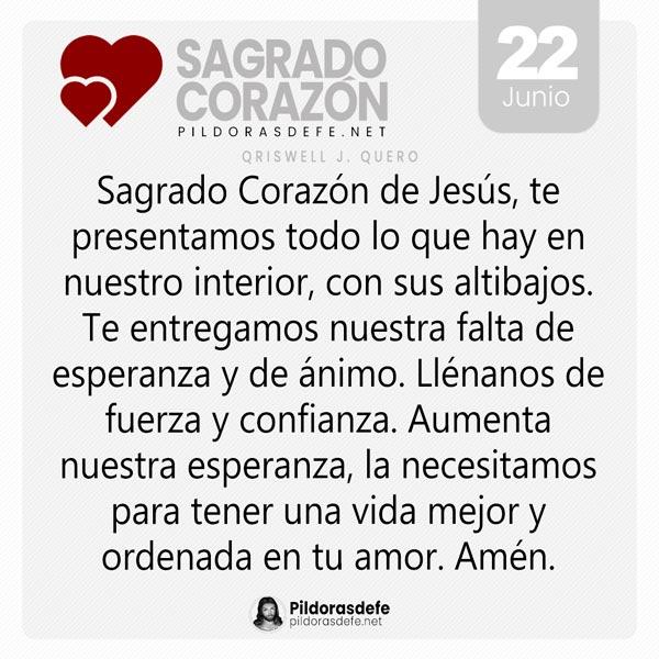 Oración al Sagrado Corazón de Jesús para el día 22 de junio