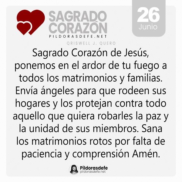 Oración al Sagrado Corazón de Jesús para el día 26 de junio