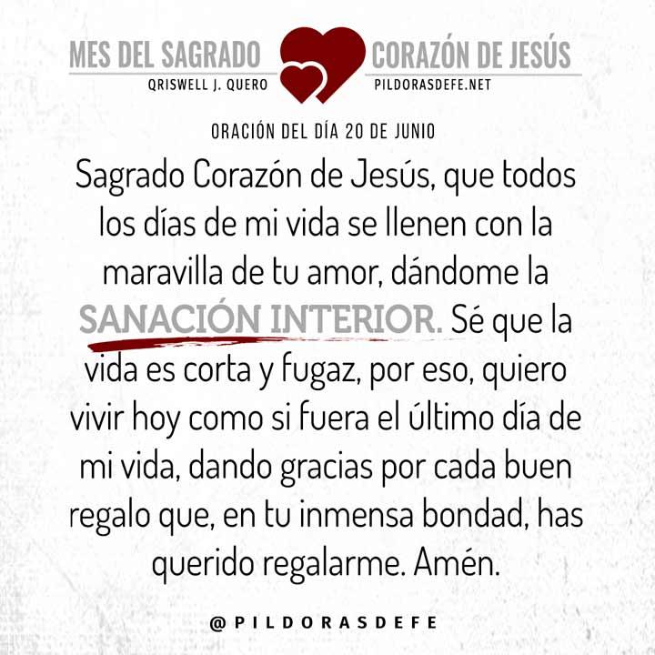 Oración del día 20 de junio al Sagrado Corazón de Jesús
