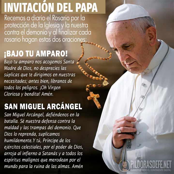 Invitación del Papa para rezar a San Miguel Arcángel y Bajo tu Amparo a María