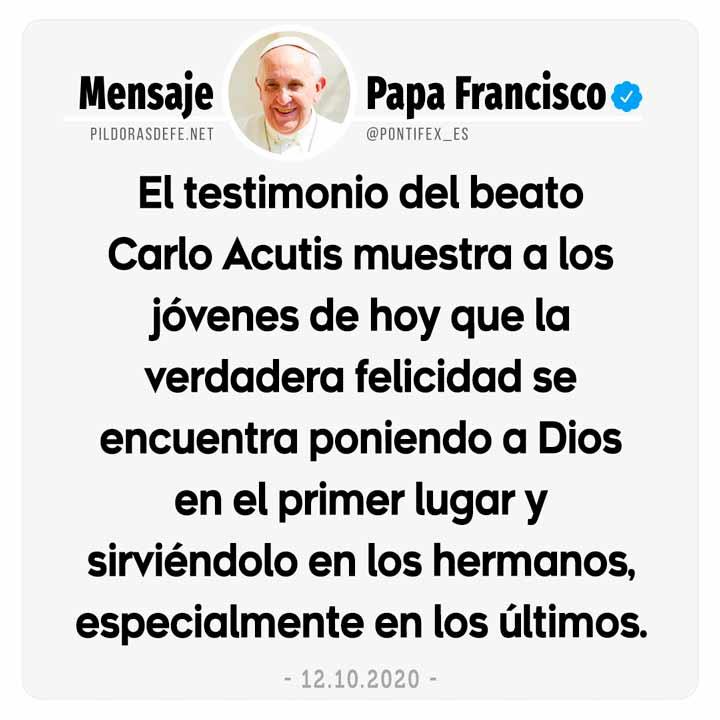 Papa Francisco mensaje sobre el beato Carlo Acutis