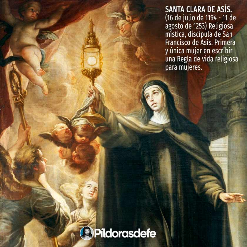 Santa Clara de Asís levantando la Sagrada Hostia