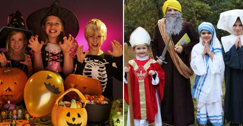 celebracion de halloween ninos disfrazados de esqueleto brujas santos visperas