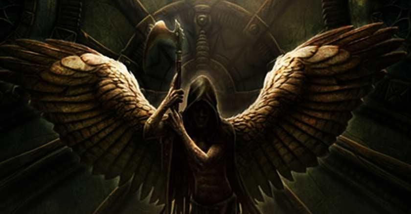 el demonio existe ser real no imaginario angel caido sostiene hoz muerte
