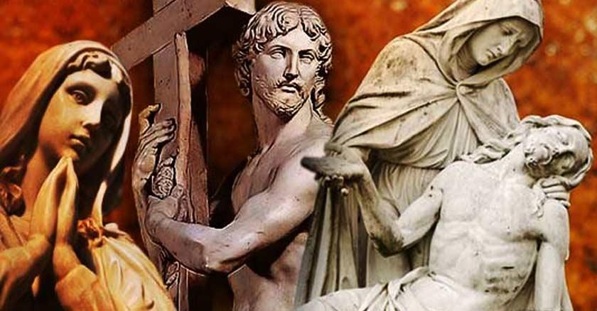 estatuas virgen maria orando jesus cruz bajado imagenes religiosas veneracion