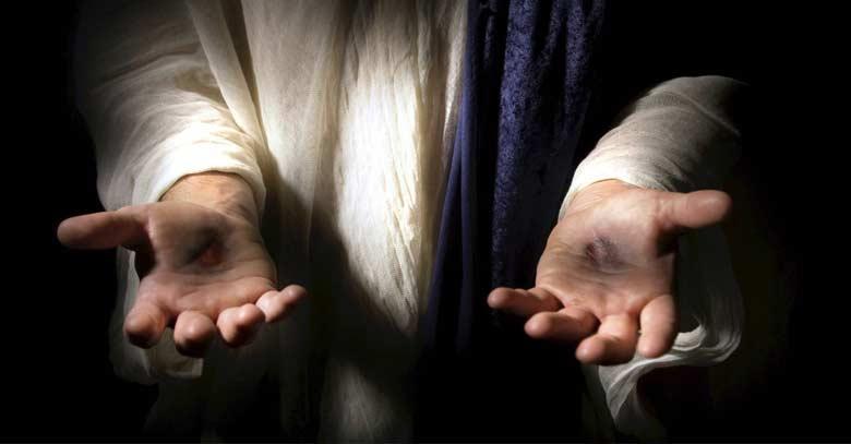 jesus resucitado muestra heridas clavos manos llagas
