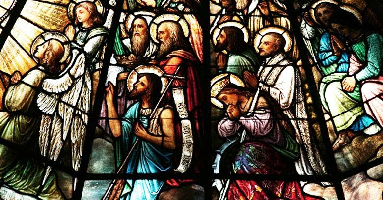 jesus virgen maria todos los santos vitral
