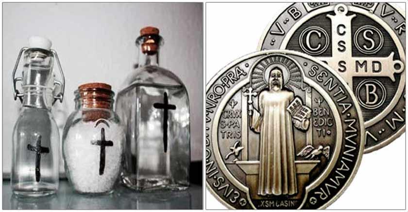 medalla de san benito agua bendita sal exorcisada sacramentales