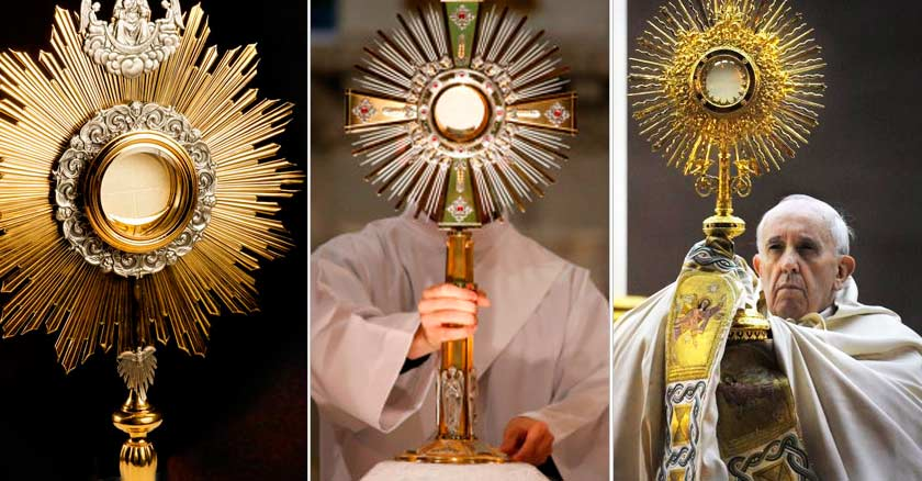 papa francisco alza jesus sacramentado adoracion eucaristica eucaristia santisimo patena