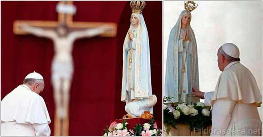 papa francisco venerando estatua virgen maria virgen de fatima adoracion