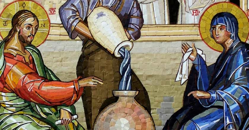 pintura jesus agua vino llama maria mujer bodas de cana