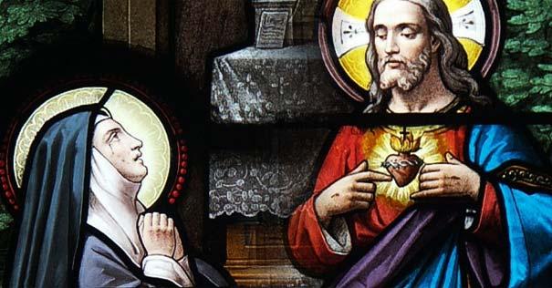 sagrado corazon de jesus vitral aparicion santa margarita
