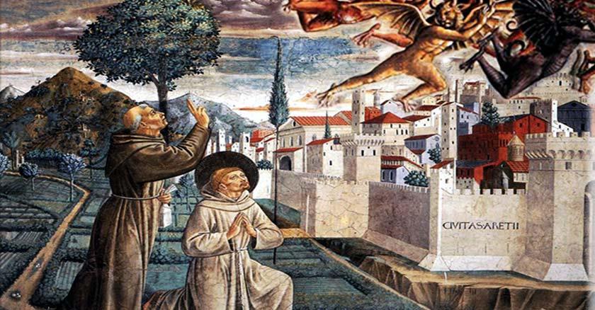 san francisco de asis expulsando legion de demonios de una ciudad