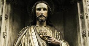 sagrado corazon de jesus estatua de bronce brillante