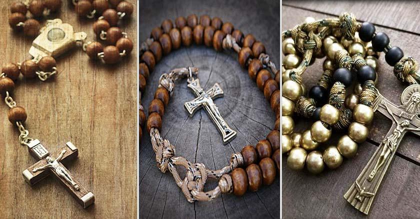 tipos de santos rosarios variados cruz de metal madera