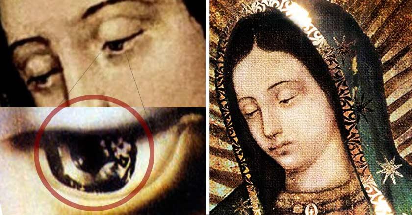 virgen de guadalupe misterio figuras en los ojos