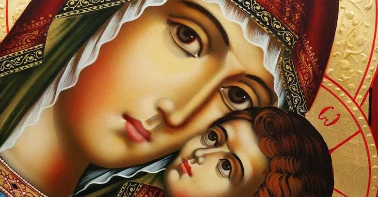 virgen maria icono nino jesus pintura