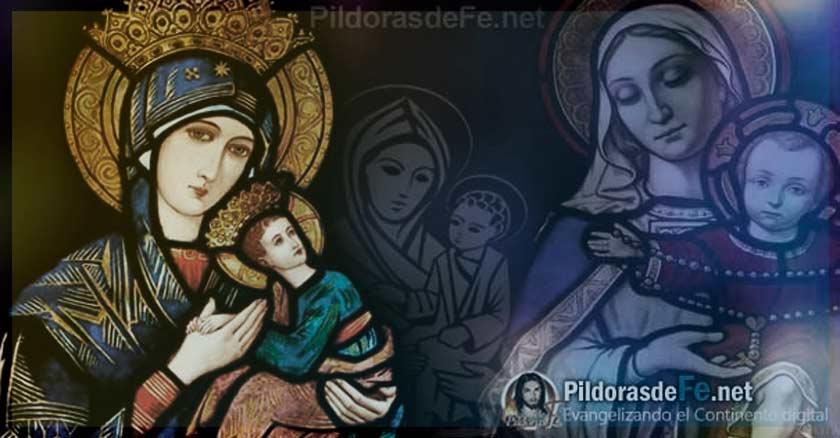 virgen maria pintura icono sostiene en sus brazos al nino jesus devotos de maria