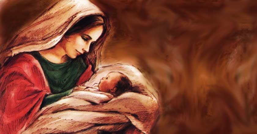 virgen maria sosteniendo al nino jesus entre sabanas pintura