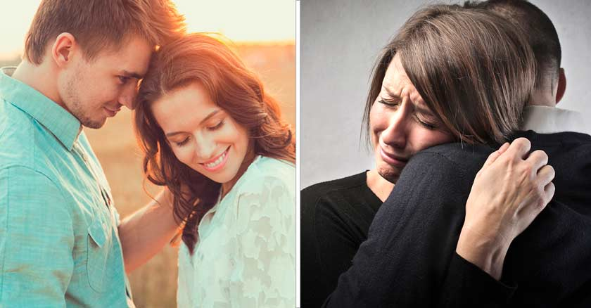 matrimonio pareja jombre mujer felices y pareja triste