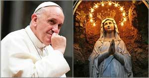 papa francisco rostro pensnado estatua virgen maria