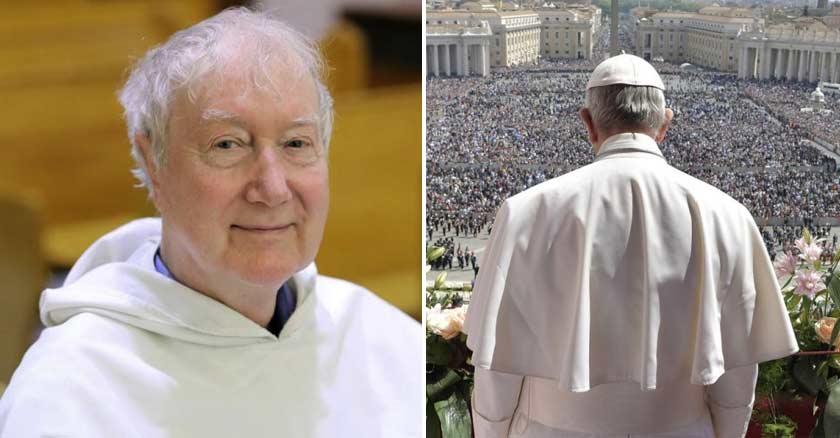 padre timothy radcliffe dominico papa francisco viendo plaza de san pedro vaticano