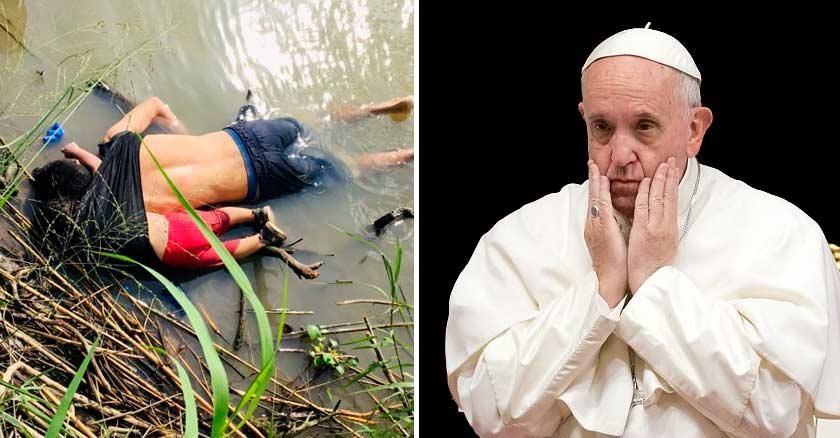 papa francisco cara triste manos cabeza padre bebe migrantes ahogados