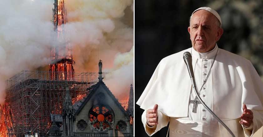 papa francisco fondo negro incendio en catedral de notre dame