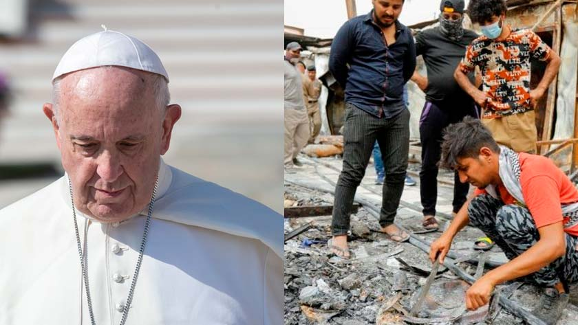 papa francisco reza victimas incendio hospital covid iraq