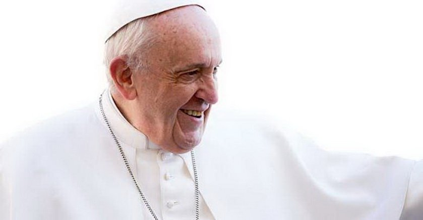 papa francisco sonriendo fondoclaro