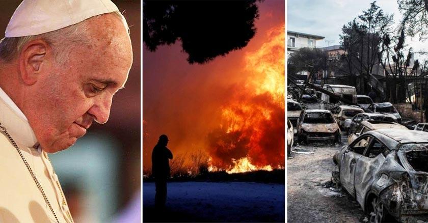 papa francisco triste orando por incendios en grecia