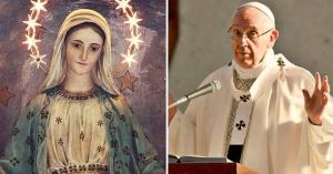 papa  francisco con manos alzadas microfono virgen maria corona de estrellas