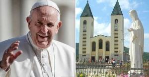 papa francisco saludando virgen de medjugorje estatua peregrinar peregrinaciones