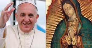 papa francisco sonrie y saluda image de la virgen de guadalupe
