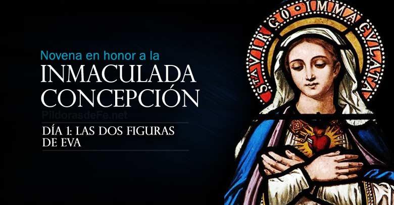 novena a la inmaculada concepcion de maria dia  dos figuras de eva