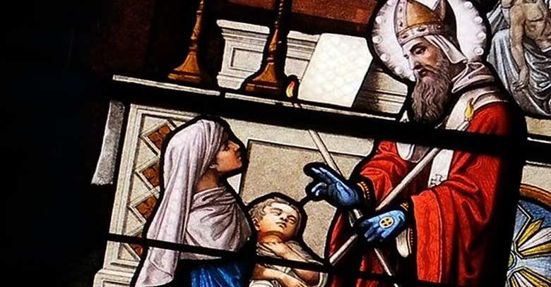 san blas vitral sanacion de nino enfermo en brazos de su madre