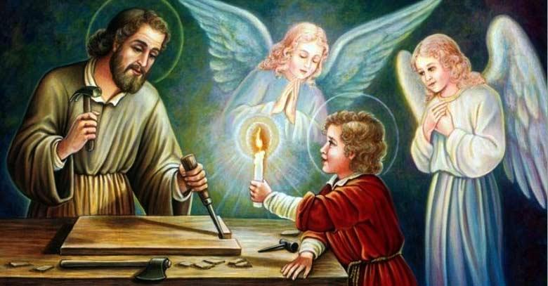 san jose obrero trabajando con jesus de nazaret
