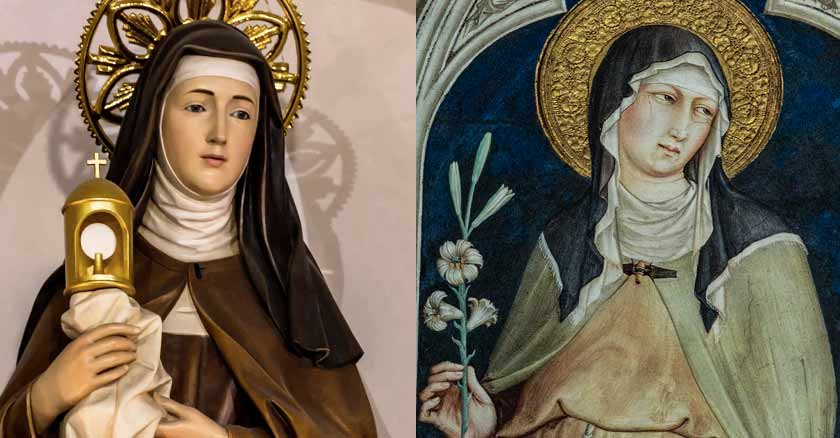 santa clara de asis pintura sostiene luz oracion sanar enfermedad