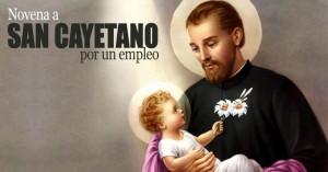 san cayetano sostniendo al nino jesus en sus brazos novena por un empleo