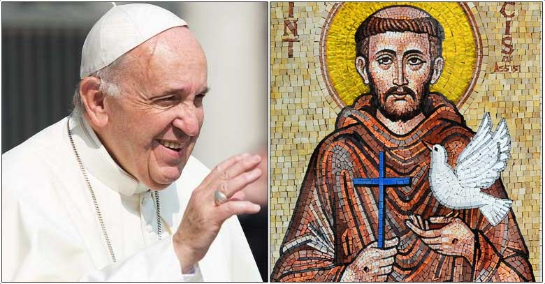 papa francisco y san francisco de asis mural relacion