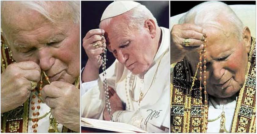 papa san juan pablo ii rezando el santo rosario devocion