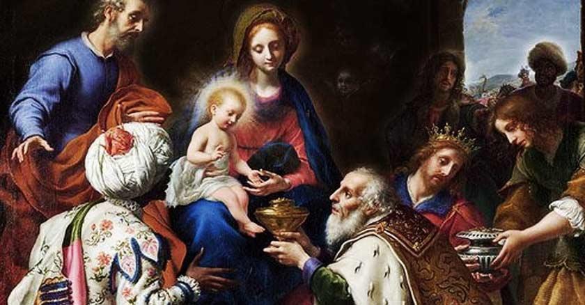 reyes magos entregando regalos cofres al nino jesus virgen maria de belen