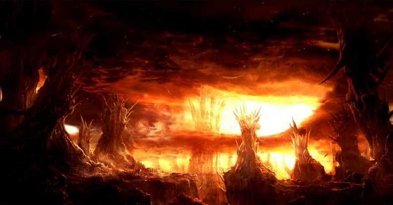 infierno fuego tinieblas y oscuridad