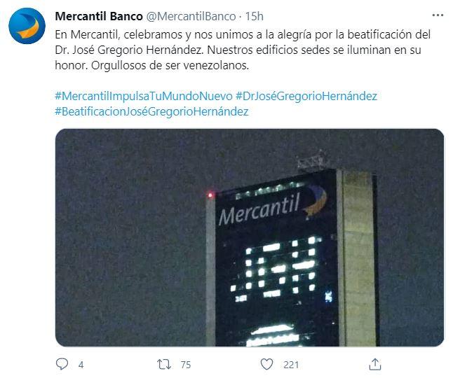 Mensaje del Banco Mercantil por Beatificación del Doctor José Gregorio Hernández