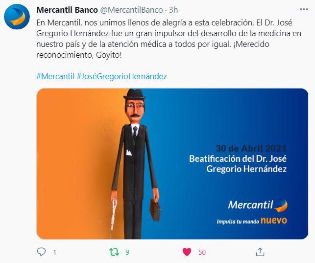 Mensaje del Banco Mercantil por Beatificación del Doctor José Gregorio Hernández 02